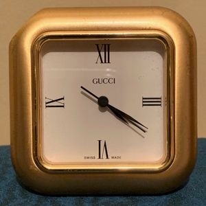 Gucci Desk Clock, Gold